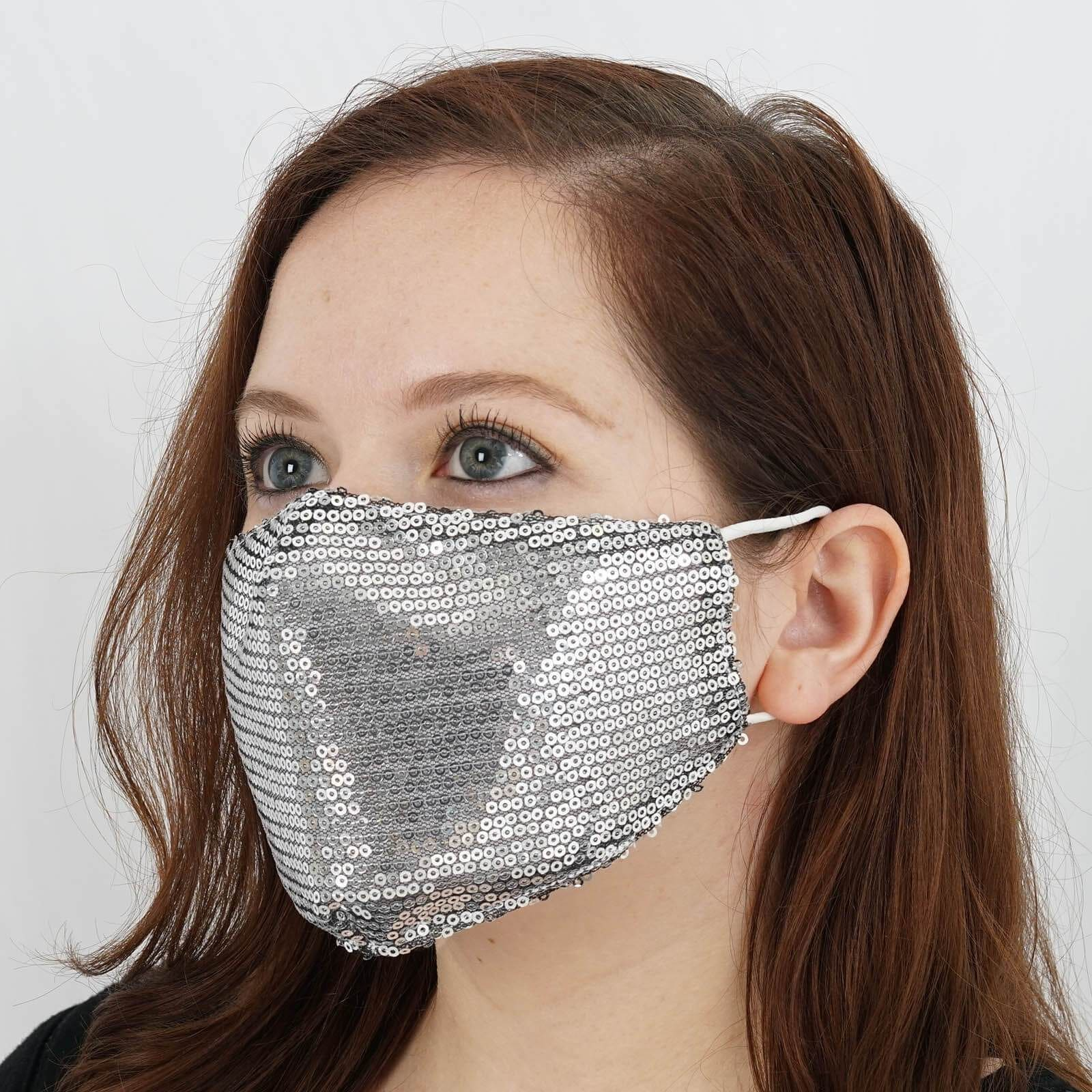 Silver Sequined Mask